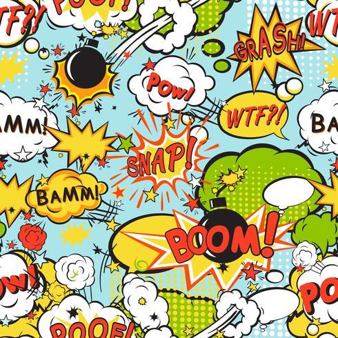 Comic boom seamless pattern vector