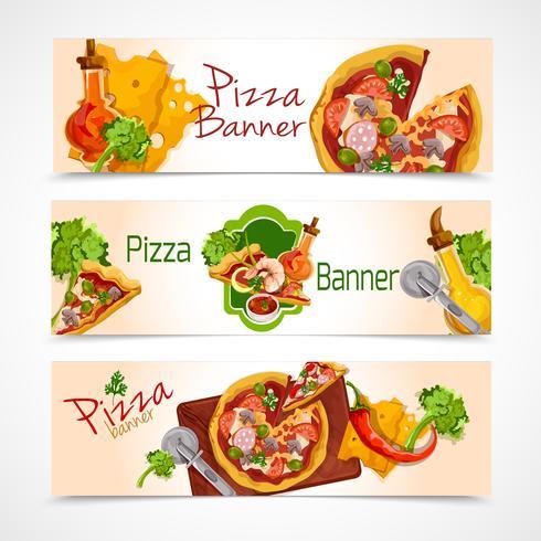 Conjunto de pancartas de pizza vector