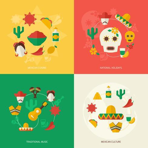 Conjunto de iconos planos de México vector