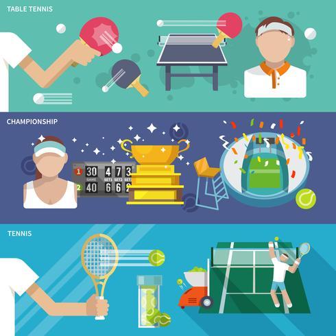 Ensemble de bannière de tennis vecteur