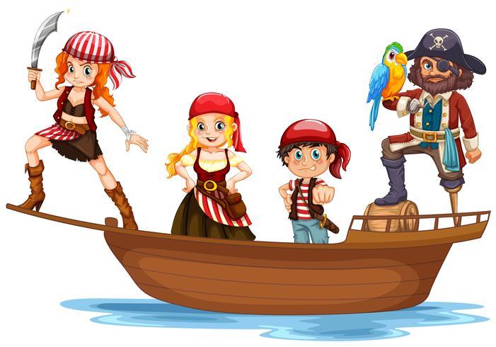 Pirat och besättning på träskepp