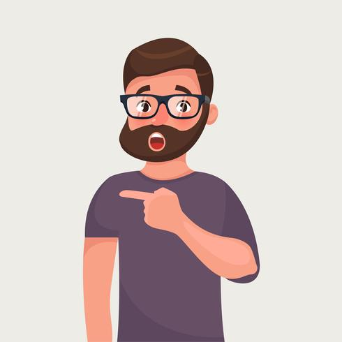 Hombre de barba hipster sorprendido señala. Noticias increíbles o calientes. Sugerencia impactante. vector