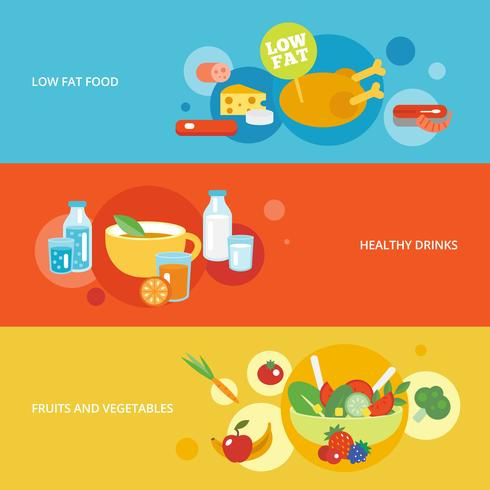Healthy eating flat banner set