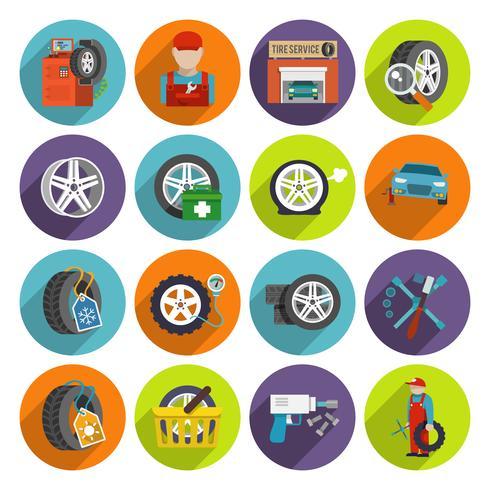 Conjunto de ícones de serviço de pneus vetor