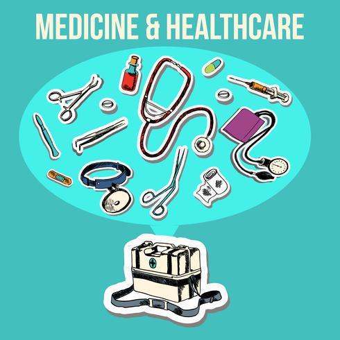 Medizin-Skizzendesign vektor