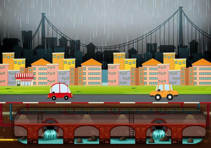 Una gran ciudad moderna lloviendo vector