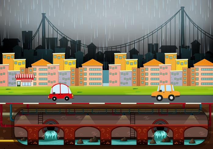 Una grande città moderna che piove