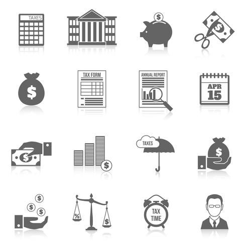 Tax icons set vector