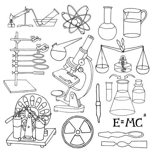 Iconos de bosquejo de ciencia