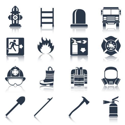 brandweerman pictogrammen zwart vector