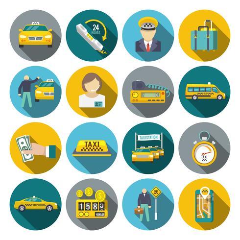 Conjunto plana de iconos de taxi