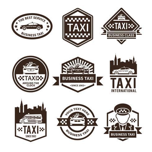 jeu d'étiquettes de taxi noir