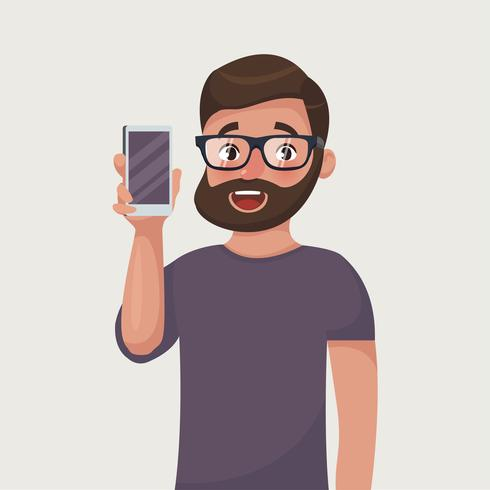 Man in glasses with beard is showing the phone. People and gadgets. Cartoon style