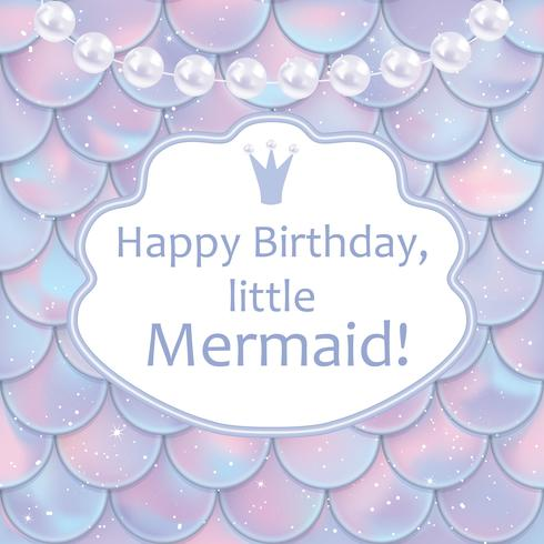 Birthday card for little girl. Holographic fish or mermaid scales, pearls and frame