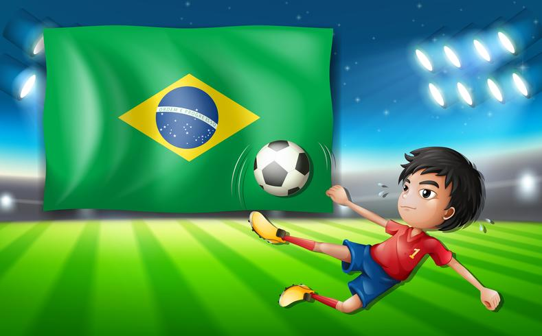 Boy soccer player infront of brazil flag vector