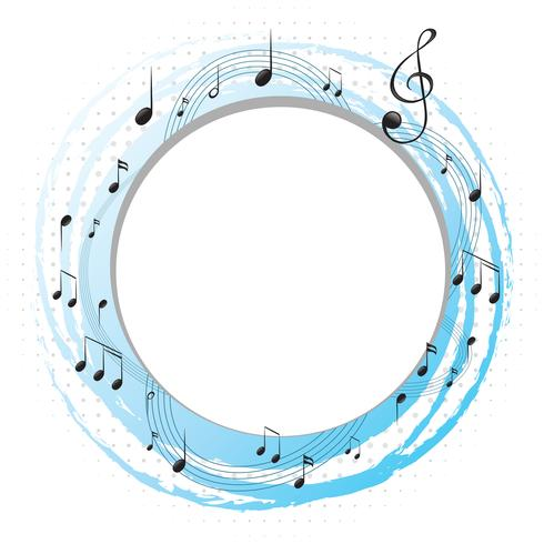 Round frame with music notes on scales