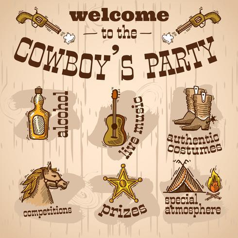 cowboy party set vektor