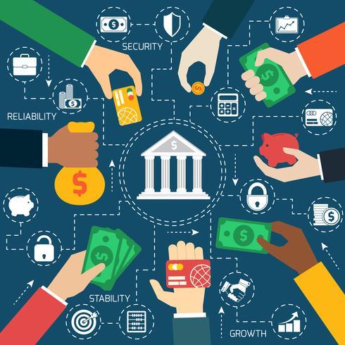 Diagramma di flusso finanziario delle mani di affari