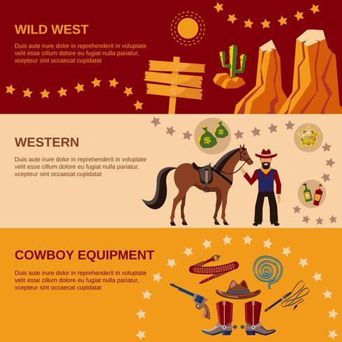 Banner di cowboy piatte