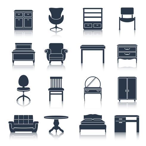 Iconos de muebles negro