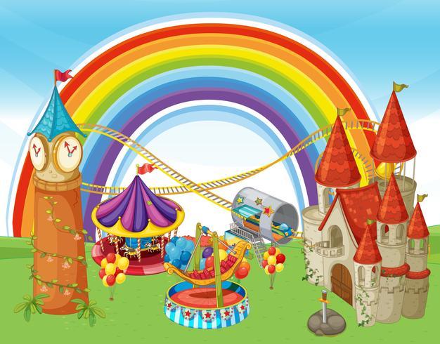 An Amusement Park and Rainbow