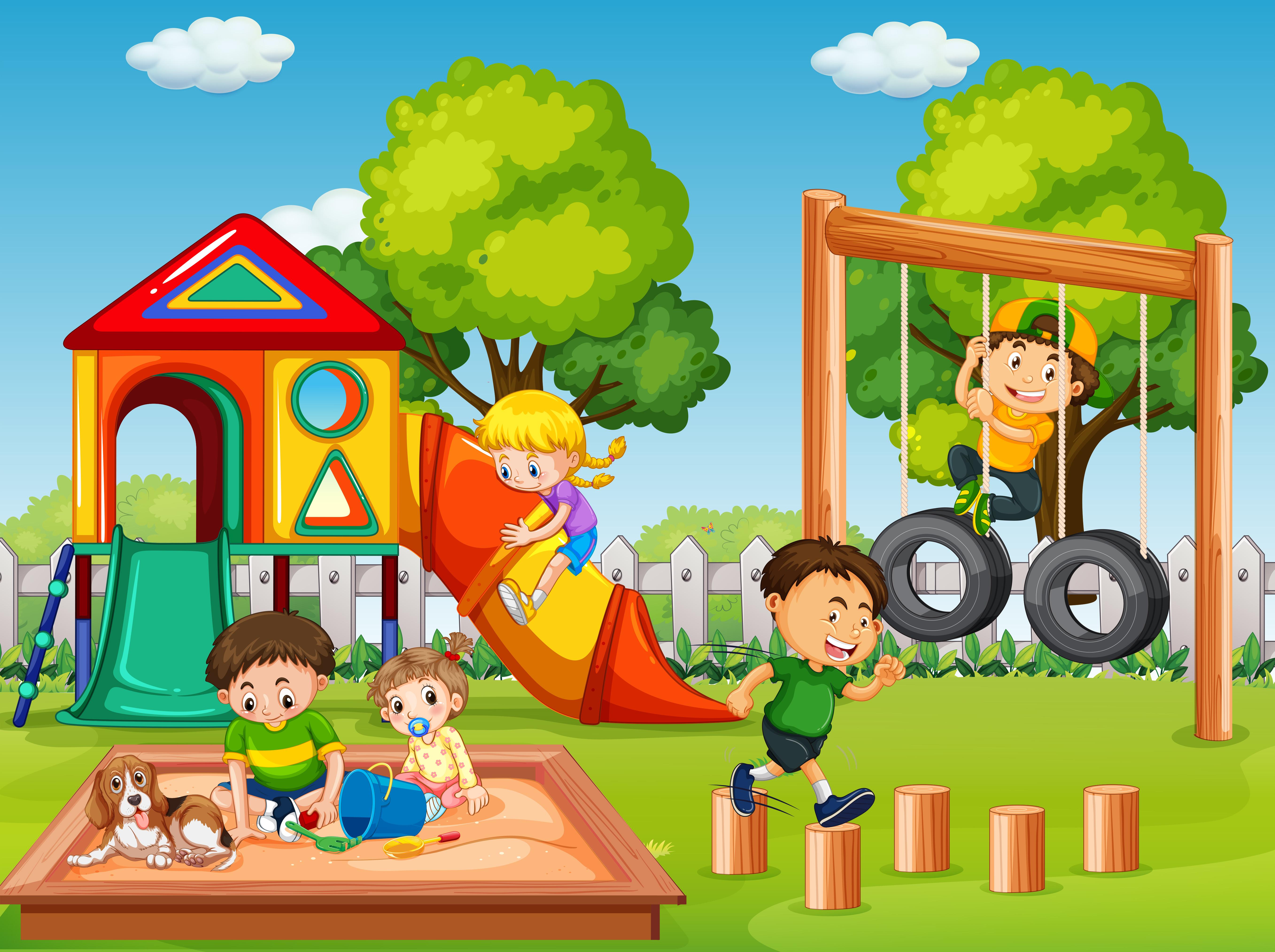 Children in playground scene - Download Free Vectors ...
