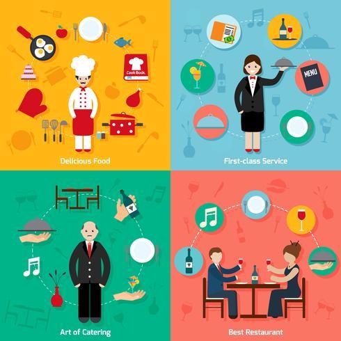 Restaurante plano conjunto vector