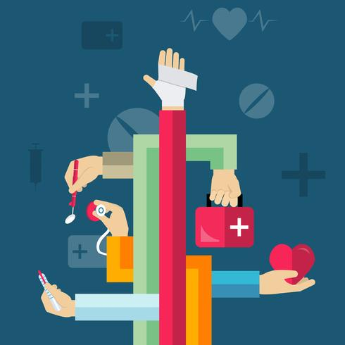 Concepto de manos medicas