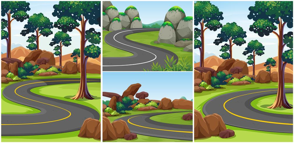 Different scenes with roads in the park