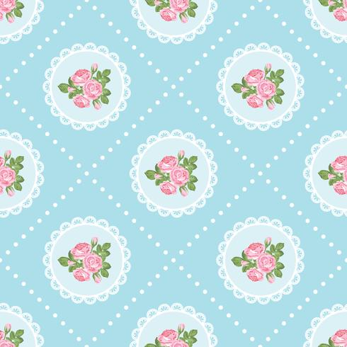 Shabby chic rose seamless pattern background
