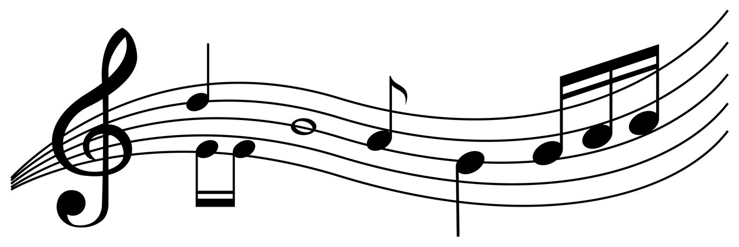 Fondo transparente con notas musicales negras vector