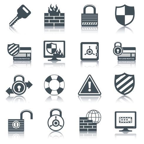 Conjunto de iconos de seguridad negro vector