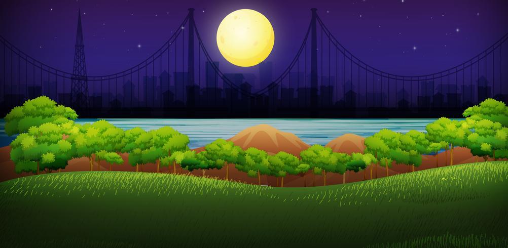 Luz de la luna sobre el parque grande vector