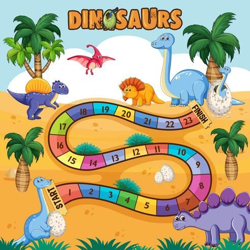 Dino path board game vector