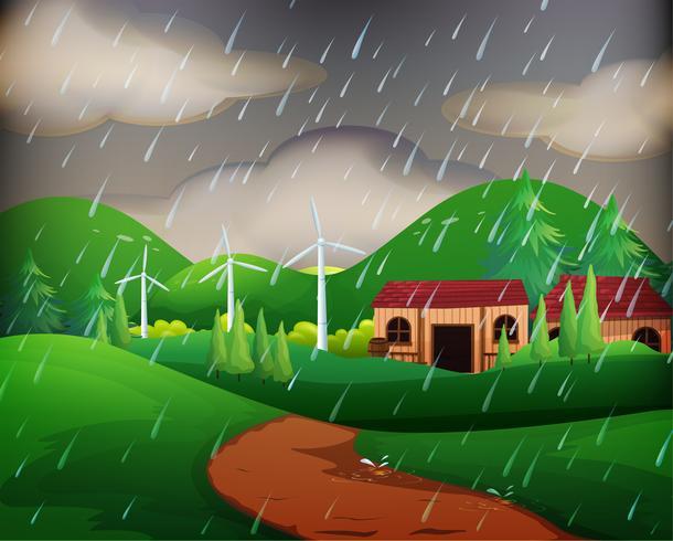 Scène avec des maisons sous la pluie