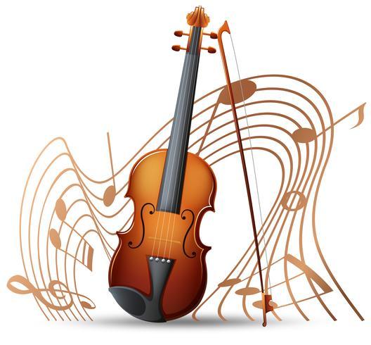 Violín con notas musicales en el fondo. vector