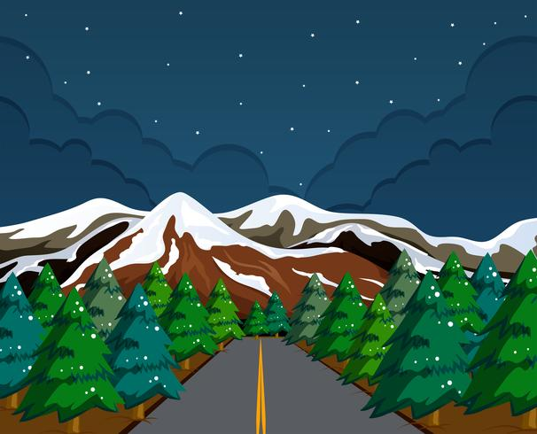 Snow mountain landscape at night