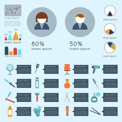 Set infografía peluquería vector