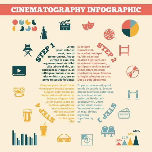Infografía de cine imprimir cartel. vector