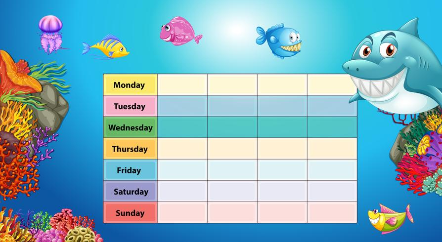 Tabella dei giorni della settimana con sfondo sott'acqua