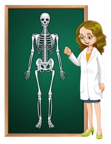 Doutor e esqueleto humano a bordo
