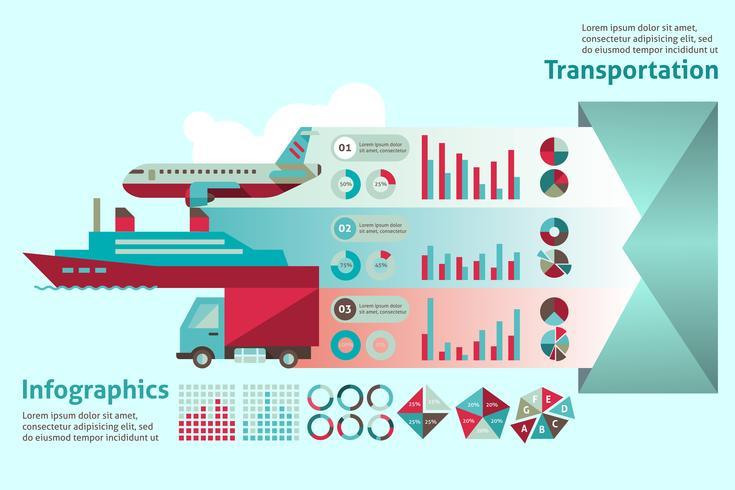 Set di infografica di trasporto vettore