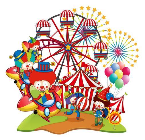 Veel clowns in het circus