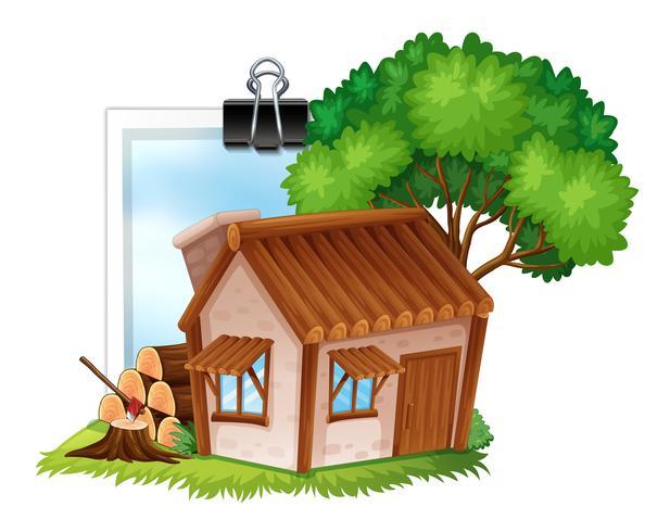 Wooden cottage on photoframe vector