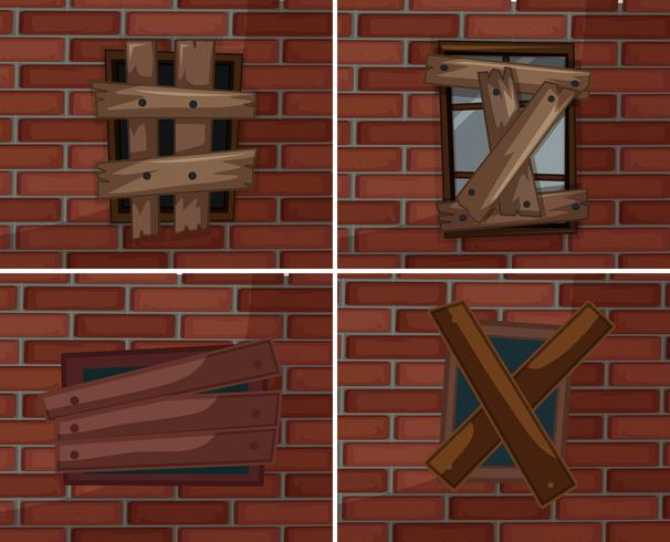 Ventanas rotas en brickwall vector