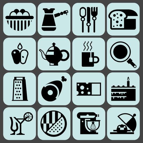 Cocinando iconos de comida negro