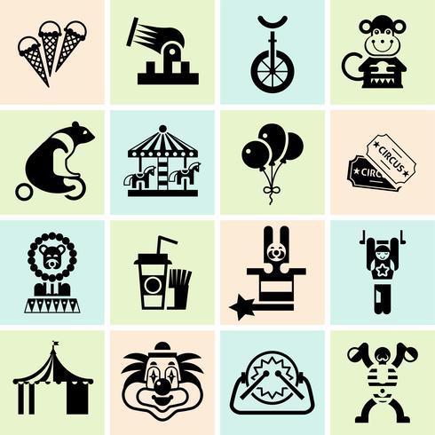 Conjunto de ícones de circo preto