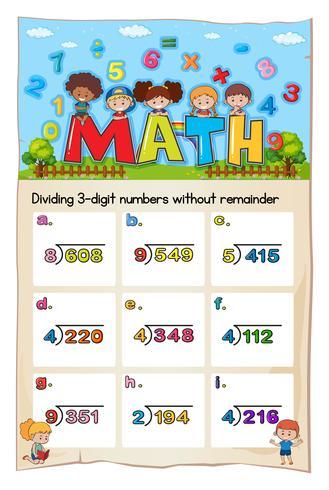 Math-werkbladsjabloon voor delen