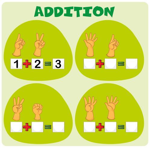 Hoja de trabajo de adición con símbolos de mano vector