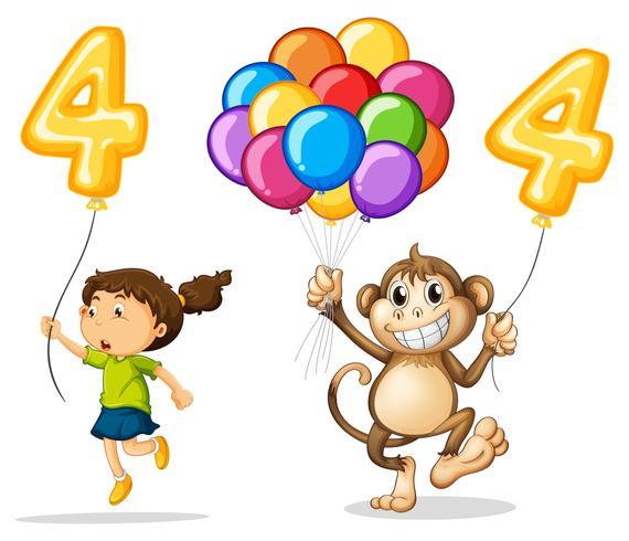 Chica y mono con globo numero cuatro vector
